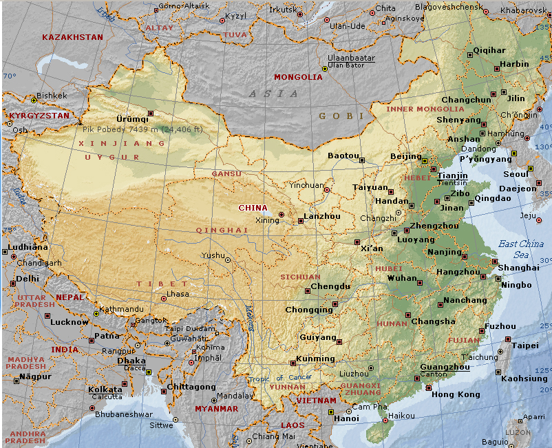 Chinese Religions Links - Physical map of china 2004